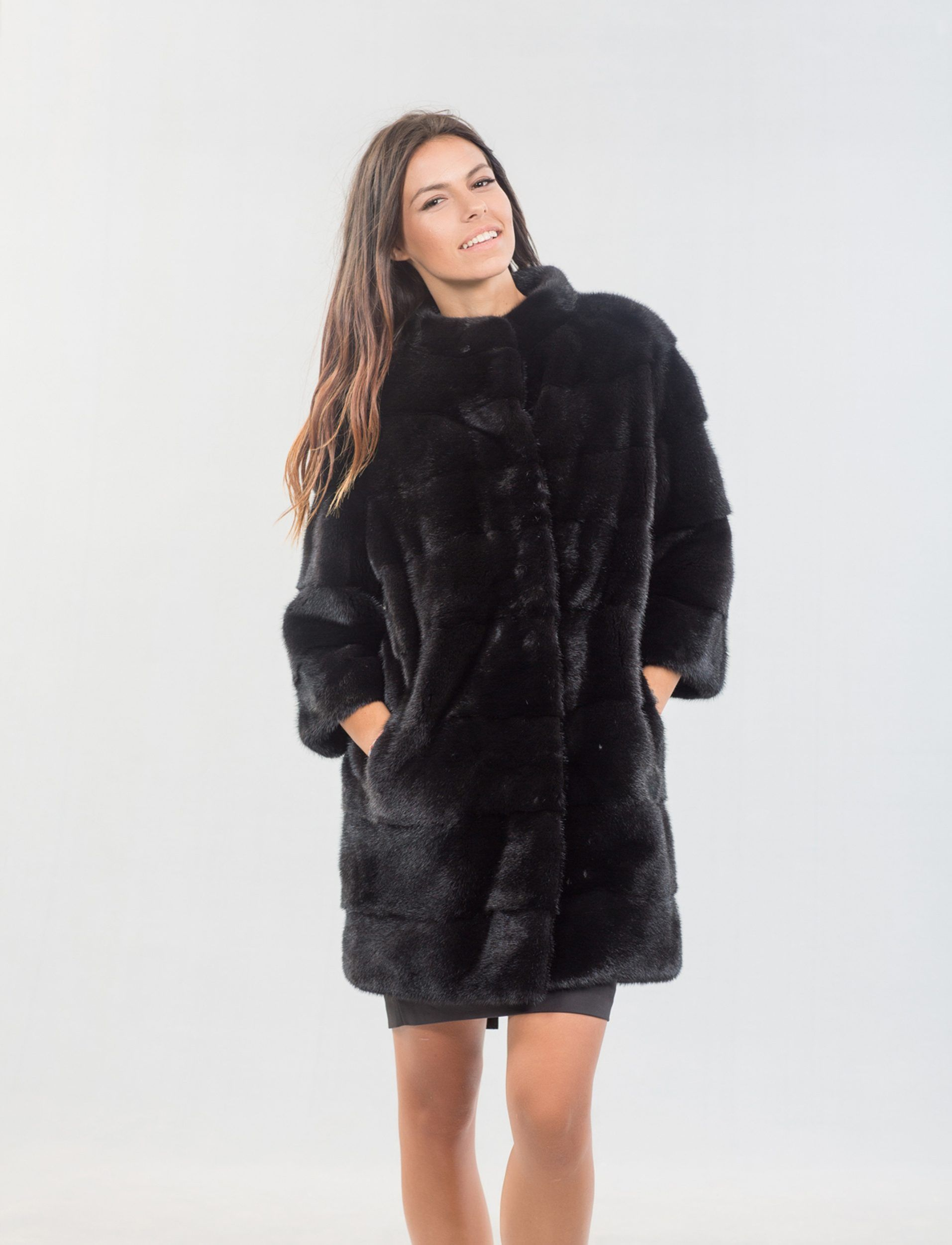8f6b9e51ab Nafa Black Mink Fur Long Jacket #black #mink #fur #long #jacket #real  #style #realfur #elegant #haute #luxury #chic #outfit #women #classy  #online #store