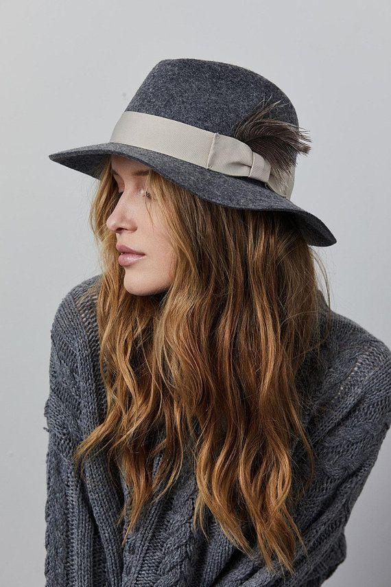Floppy felt fedora hat with a feather  6e8bd86a86b