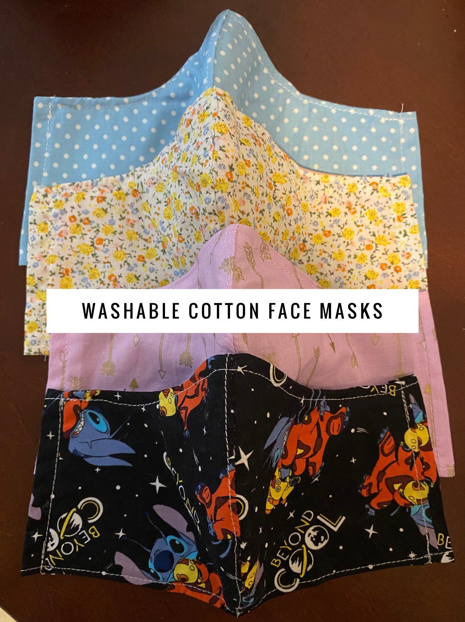 Face Mask Double Layered Cotton Fabric Filter Pocket