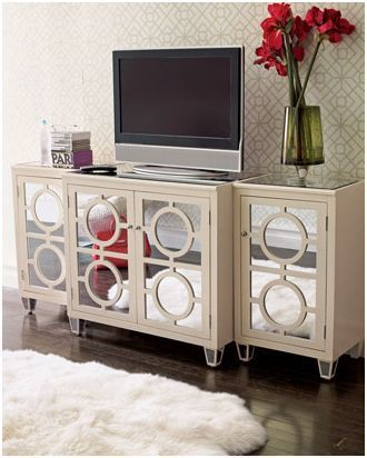 Elegant Mirrors As Stunning Furniture Designed By Horchow : Circled Horchow Mirrored  Furniture With Mini Screen And