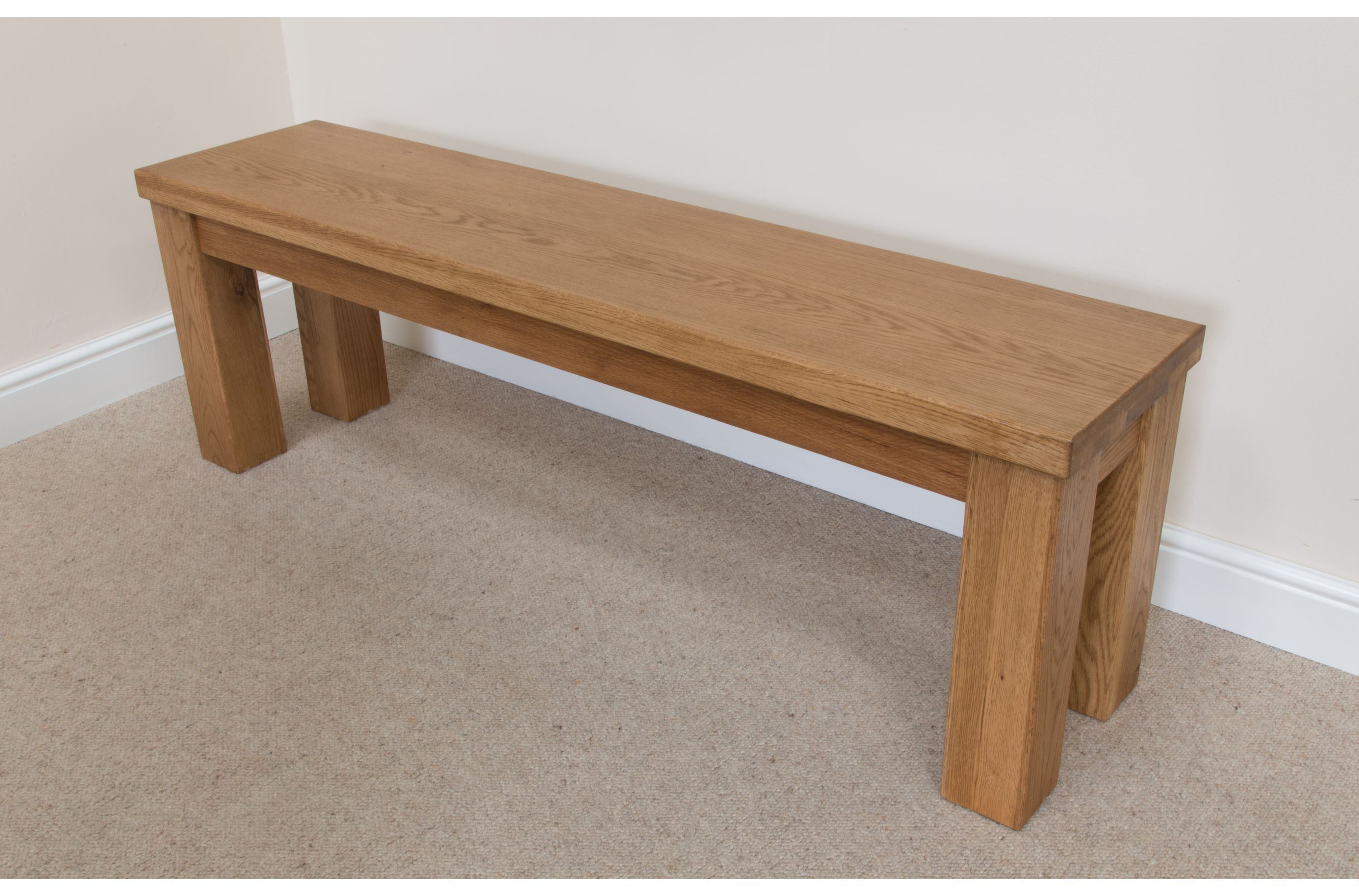 Attrayant Solid Oak Chunky Rustic Indoor Wooden Dining Bench   1.2m Long