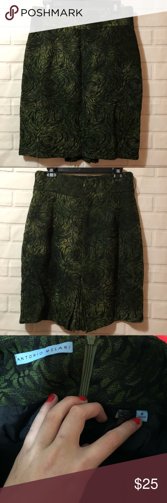 c4d00d6984 Antonio Melani Dark Green Rosette Floral Skirt Antonio Melani Dark Green  Rosette Floral Pleated Back Professional Career Midi Skirt, excellent  condition!
