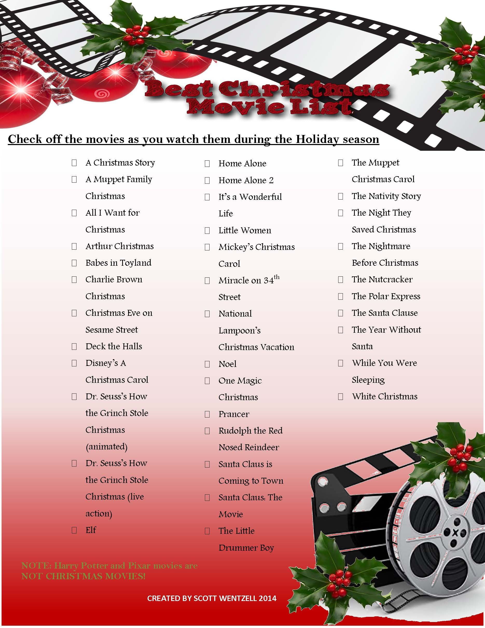 A list of the best Christmas movies to use as a checklist