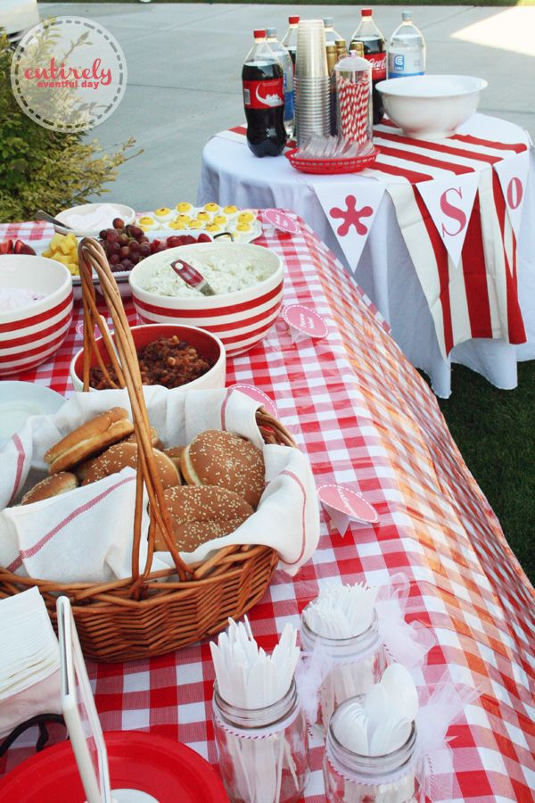Red and white bbq parties entirely eventful day red and for Summer white party ideas