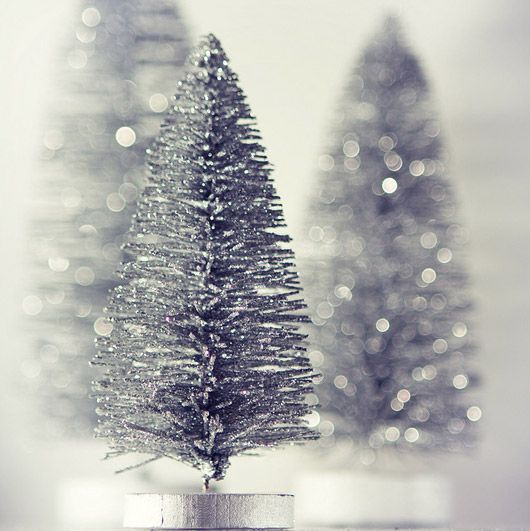 ~ sparkling silver vintage like trees