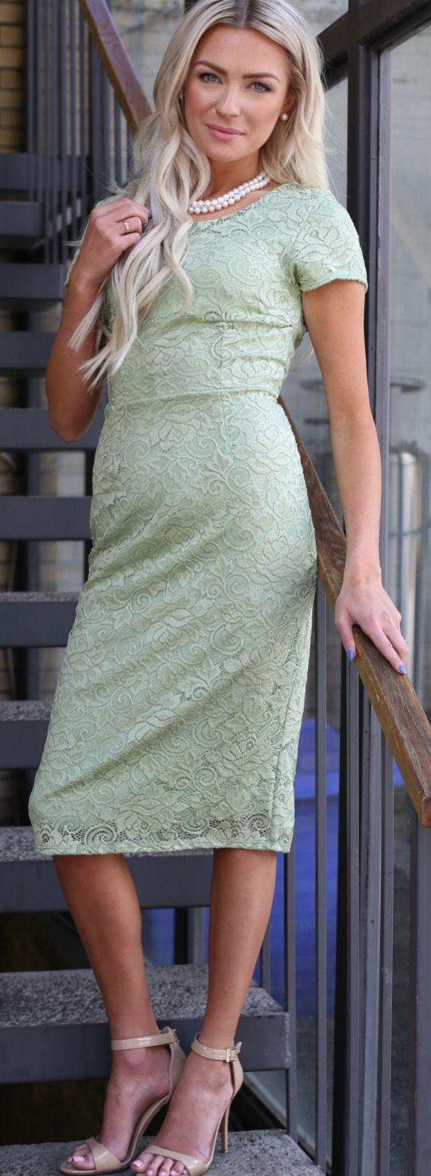 Sage green lace dress fully lined modest dress missy sizes only sage green lace dress fully lined modest dress missy sizes only 6499 ombrellifo Images