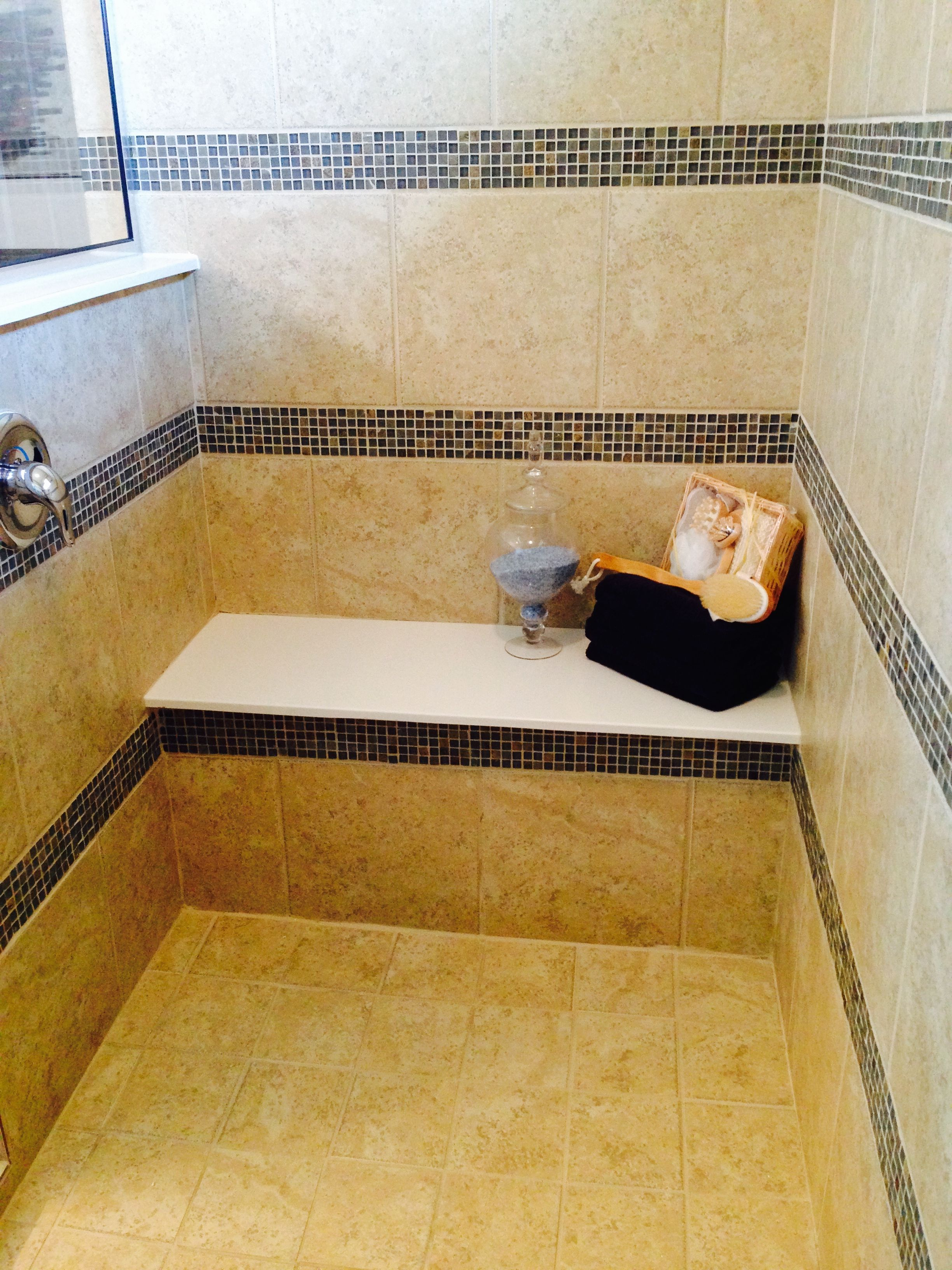 Cultured Marble Shower Seat, Ceramic Tile Surround With Mosaic Accent Liner  And Ceramic Tile Shower