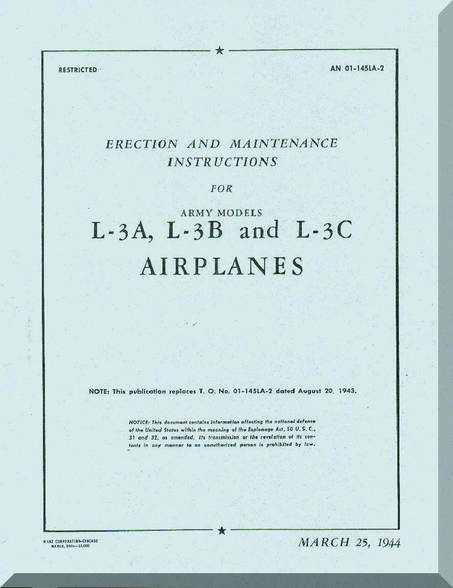 Aeronca L A And L B Aircraft Erection And Maintenance