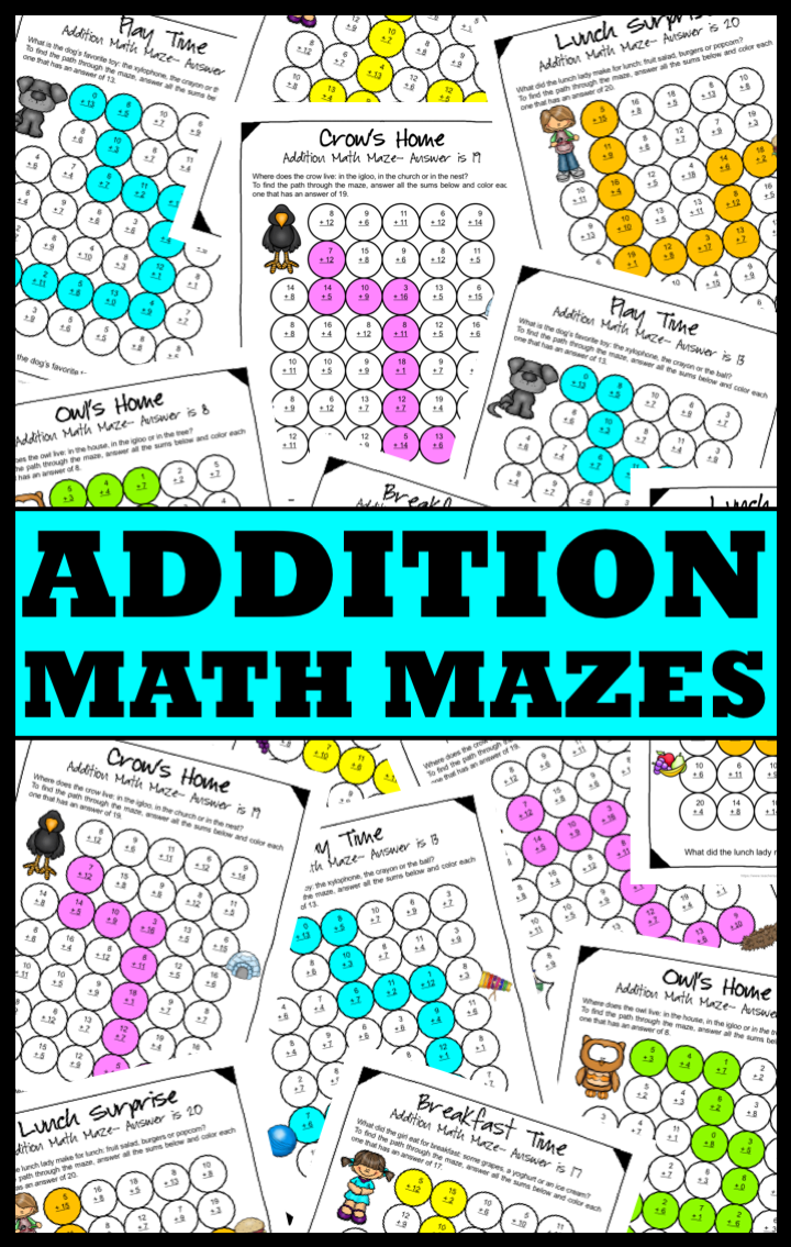 Addition Math Mazes: Addition Worksheets for Addition Facts to 20 ...