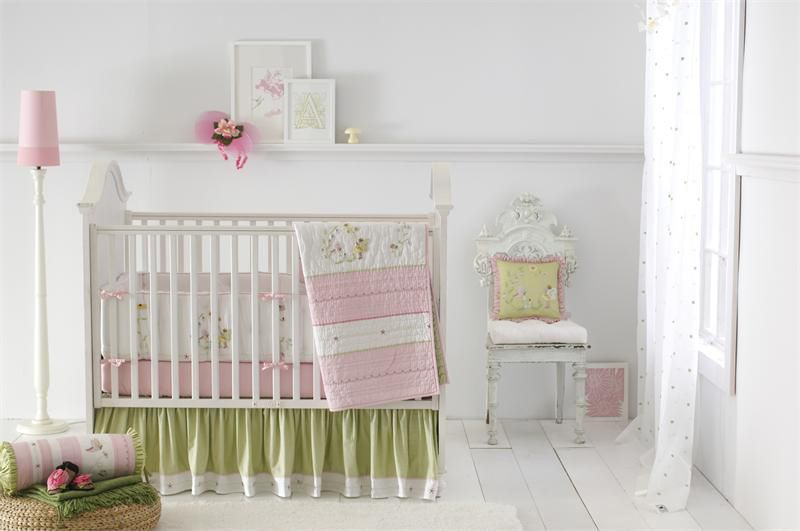 Sweet Pink And Green Nursery With A Fairyland Theme