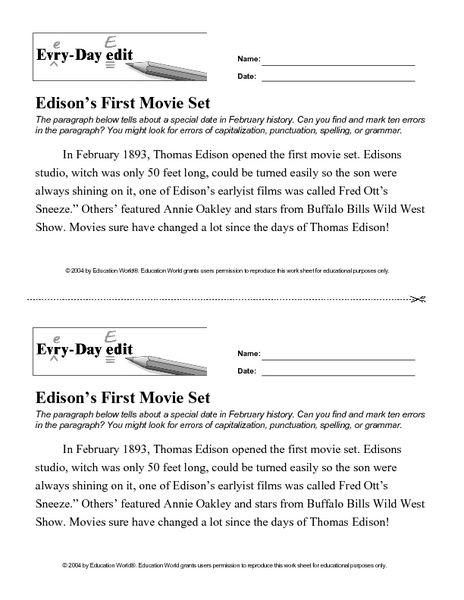 Every Day Edit - Edison\'s First Movie Set Worksheet | Lesson Planet ...