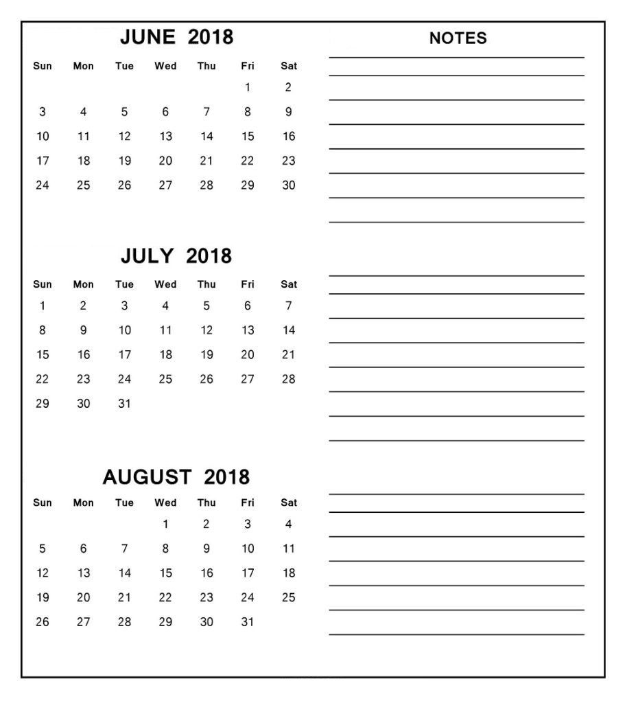 June Calendar 2018 In Printable Pdf Word Excel Template