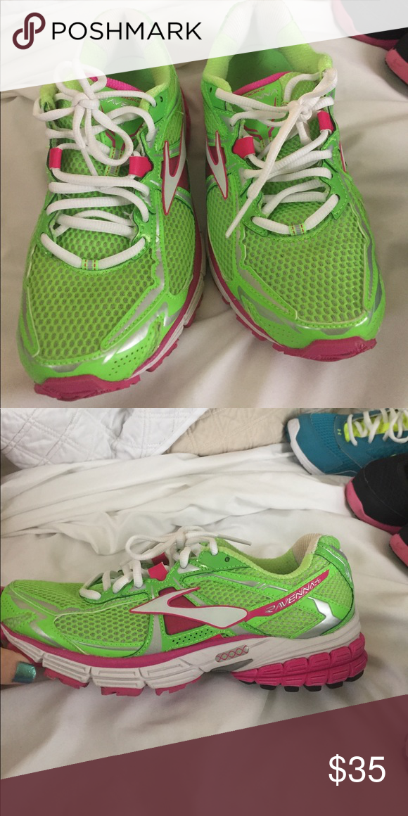 39ad9759726 Brooks Ravenna Limited edition running shoes. Hardly used limited edition Brooks  Ravenna pink and green running sneakers. Women s size 7.5 Brooks Shoes ...