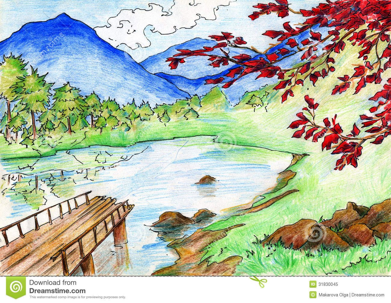 Color pencil sketches landscape drawn with colored pencils