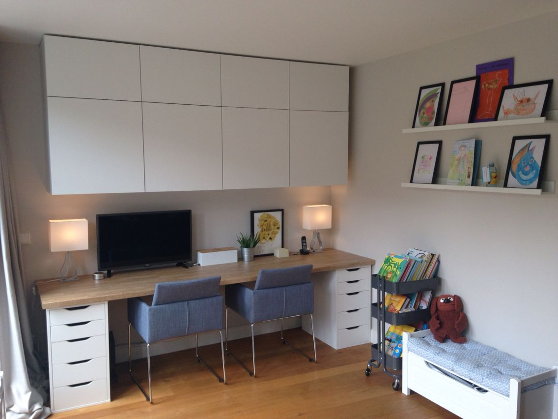 Delightful Home Office And Kids Area Besta Cabinets, Alex Desk With Ikea Worktop,  Farrow U0026 Ball Cornforth White Wall Colour (love It!)