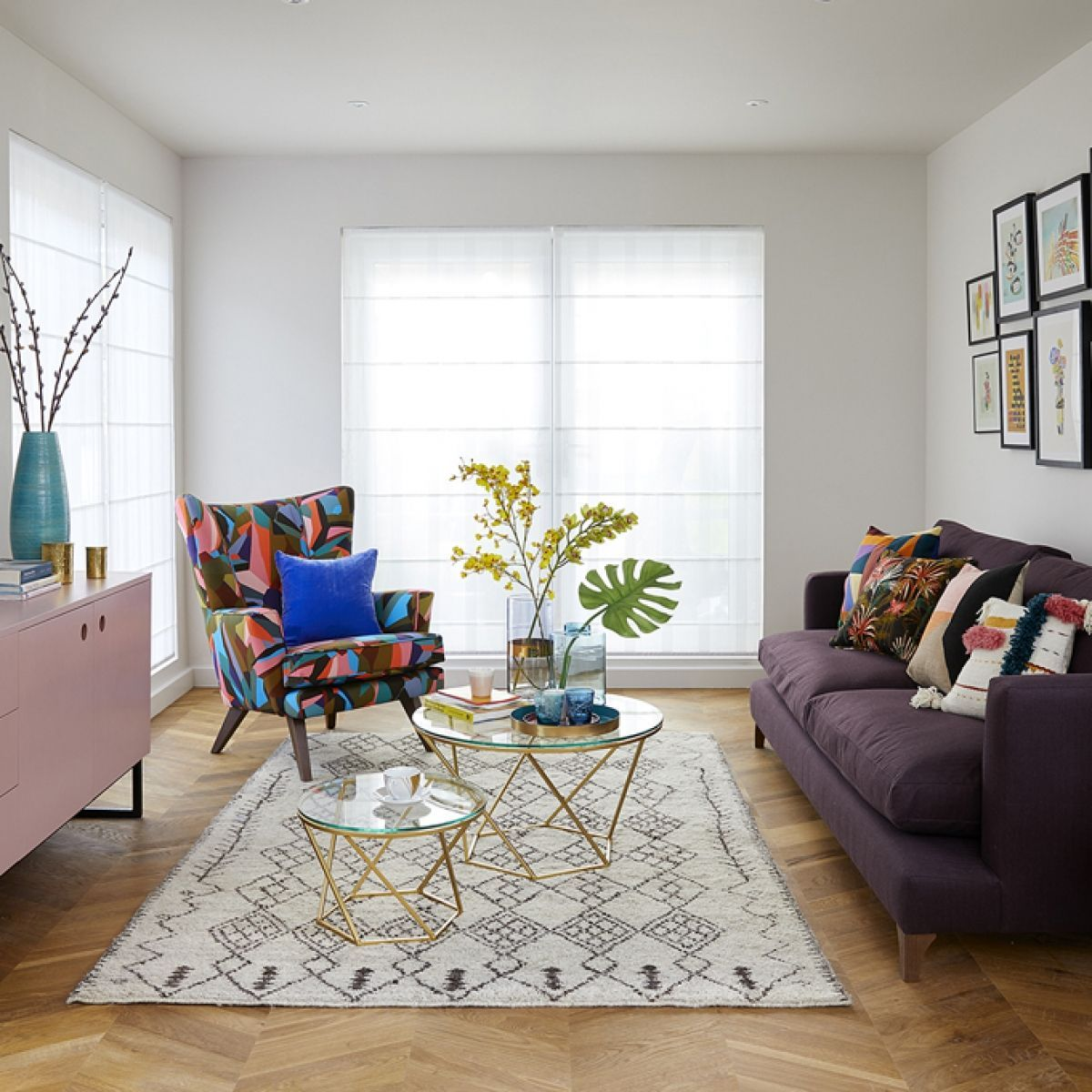Open Plan Living Room With Pale Off White Walls And Oak Parquet Floor Signauture Armchair By Open Living Room Design Living Room Planner Open Plan Living Room