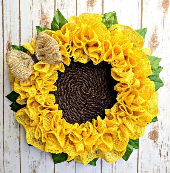 Photo of Sackleinen Sonnenblumenkranz | Sommerkranz | Sonnenblumenkranz | Herbstkranz | Sackleinen Blumenkranz | Frühlingskranz | Kranz für die Haustür