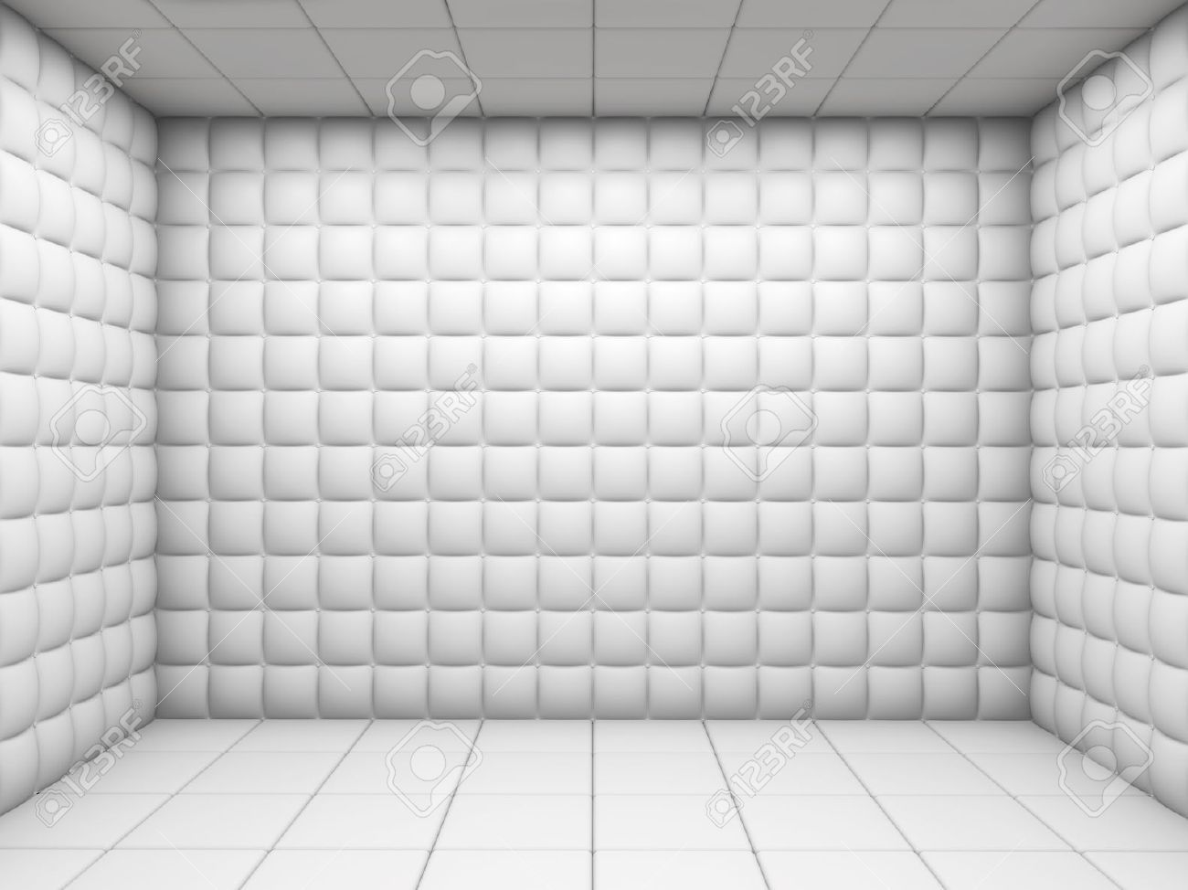 Stock Photo - white mental hospital padded room empty with copy ...