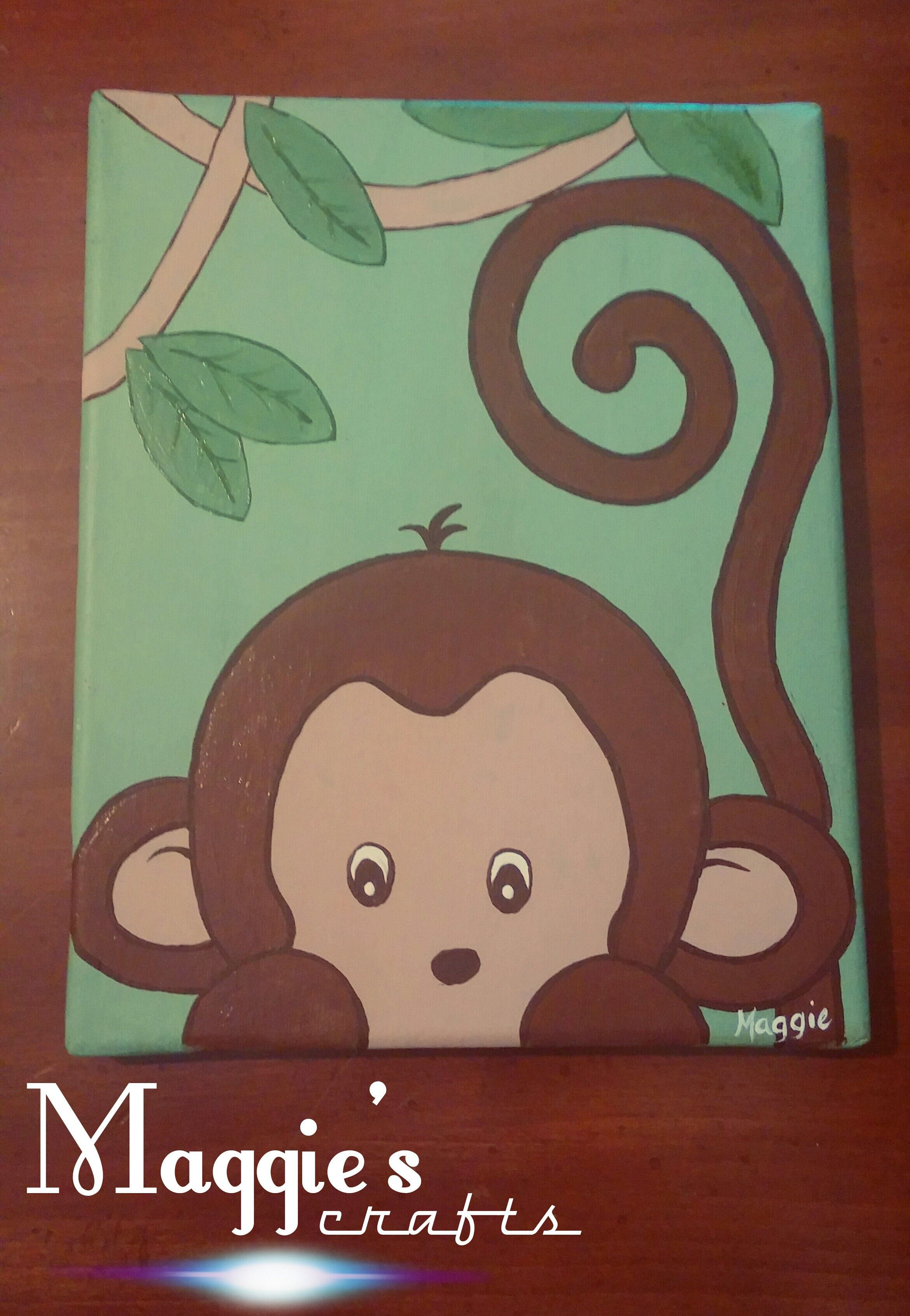 Very Cute Monkey Canvas Painting Would B Adorable In A Kid S Room
