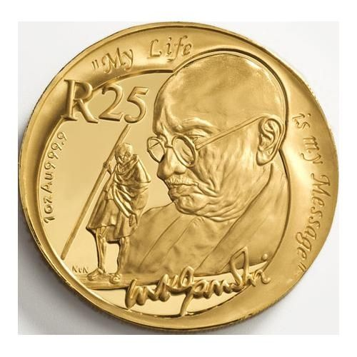 2008 25 Rand South African 1 Oz 24 Ct Gold Mahatma Gandhi Coin Gandhi Influenced Several World Gold Bullion Coins Gold And Silver Coins Gold Eagle Coins
