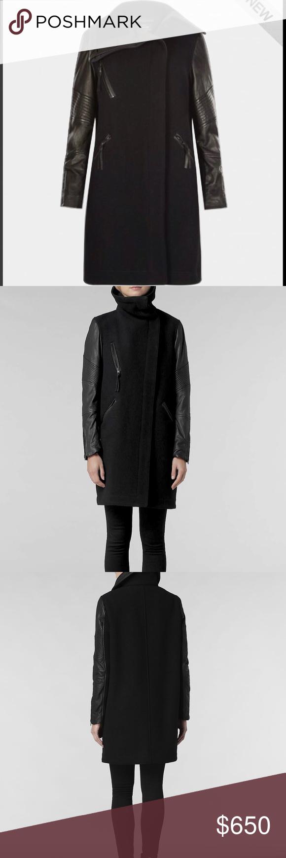 All Saints Yasemin Wool Leather Coat Jacket Leather coat