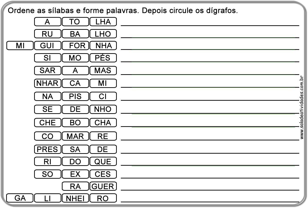 Atividades De Divisao Silabica Prontas Para Imprimirsala De
