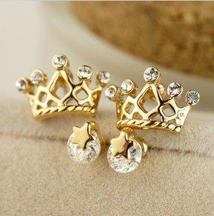 Shining Stars Crown Earrings Set Ear Stud Gift Yellow