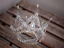 Ozdoby do vlasov - královská koruna s perličkami a štrasem - 7828160_