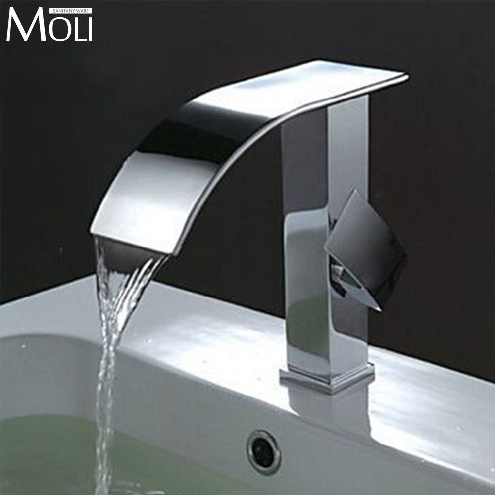 Buy Bathroom Faucet Waterfall Chrome Brass Taps For Bathroom Sink ...