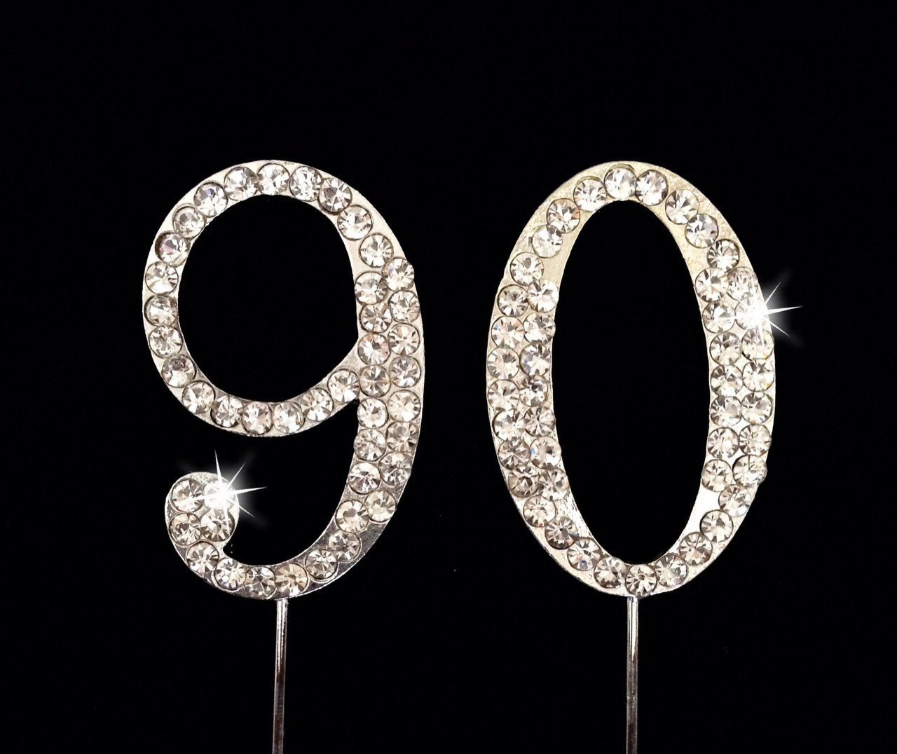 Amazon 90th Birthday Number Cake Topper With Sparkling Rhinestone Crystals