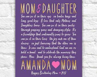 Letter To Mom And Daughter Gift Idea Birthday Poem Poetry Mother Heartfelt Quote Mama Love