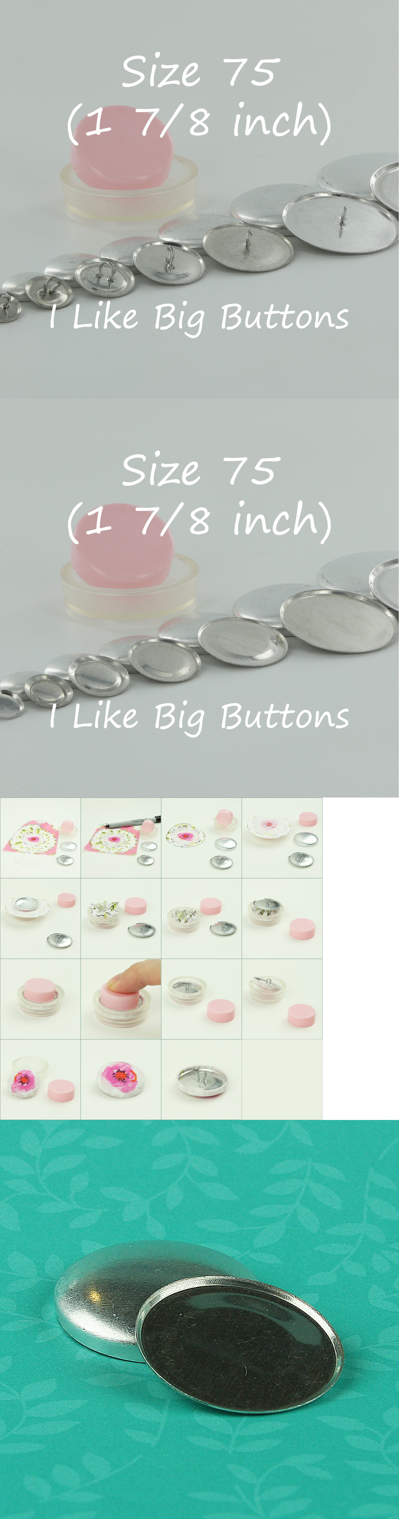 Buttons 7320: 50 Cover Buttons - Choose Flat Or Wire - Size 75 (1 7 ...