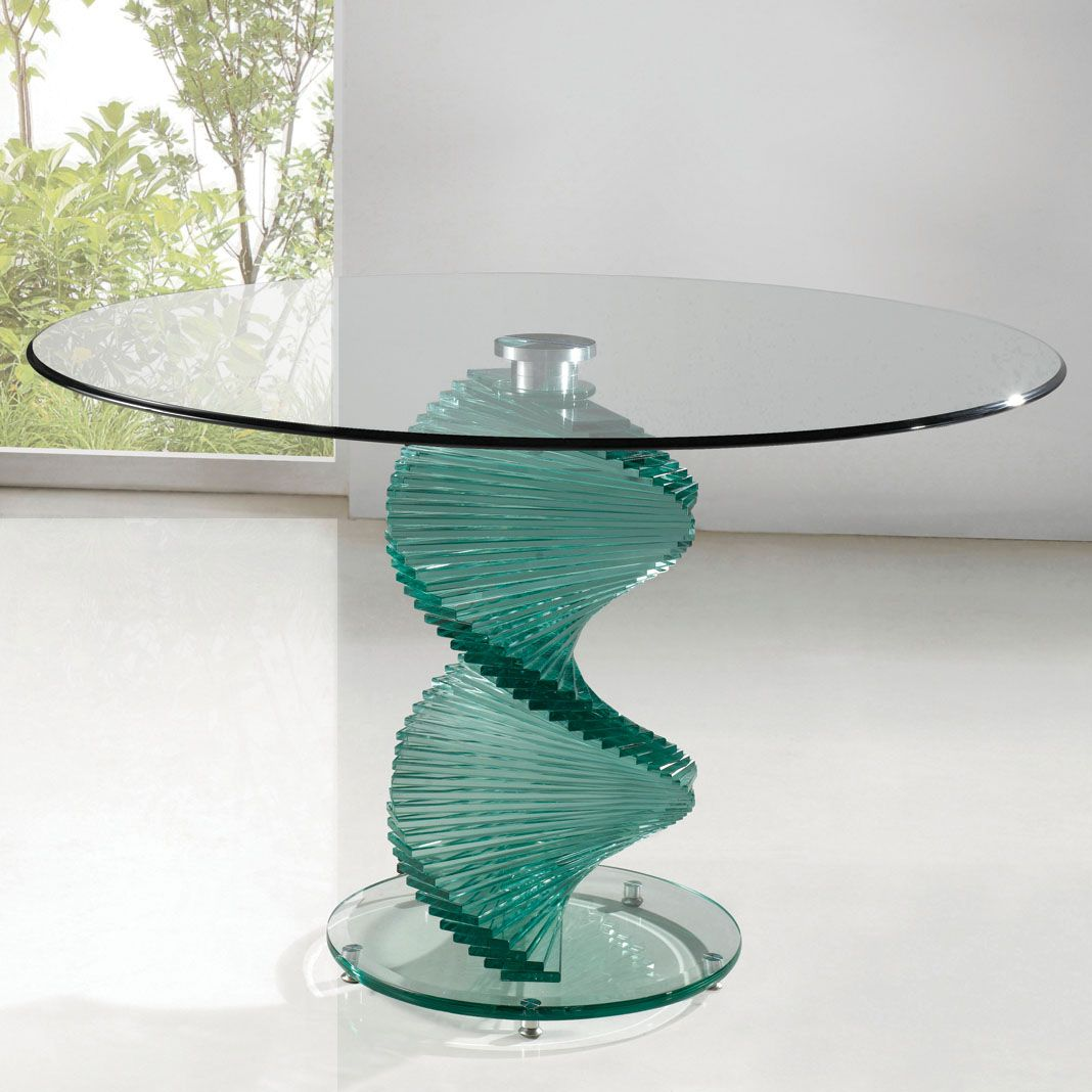 Kitchen Table Glass Top Details About Twirl Dining Table Round Contemporary Design