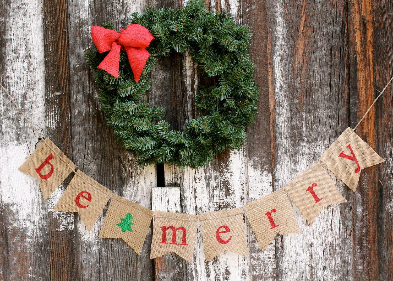 diy burlap ornaments be merry banner 1024x730 burlap christmas ideas inspirations - Burlap Christmas Banner