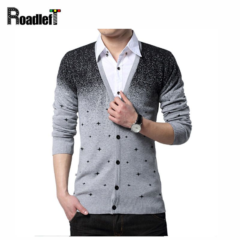 Mens fashion V-neck thin slim cardigans sweaters Men british style ...