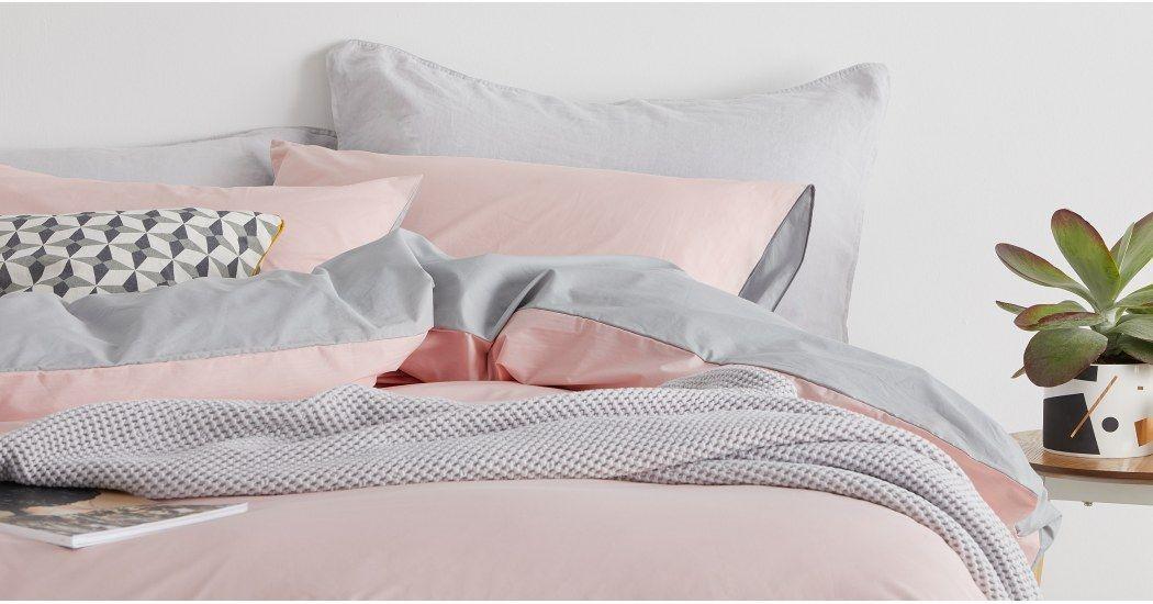caad82d00d693d Solar 100% Cotton Bed Set, King, Pink/Grey UK - Bedding Sets & Linen - Bed  & Bath   MADE.com