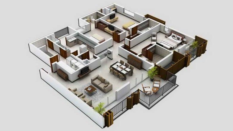 denah desain rumah minimalis modern 4 kamar tidur 3d 1