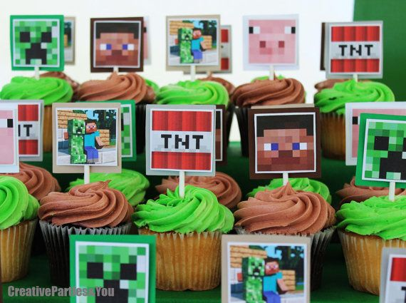 Minecraft Cupcake Toppers Set Of 12 Crepper Tnt And More Minecraft On Etsy 14 50 Minecraft Birthday Minecraft Birthday Party Minecraft Party