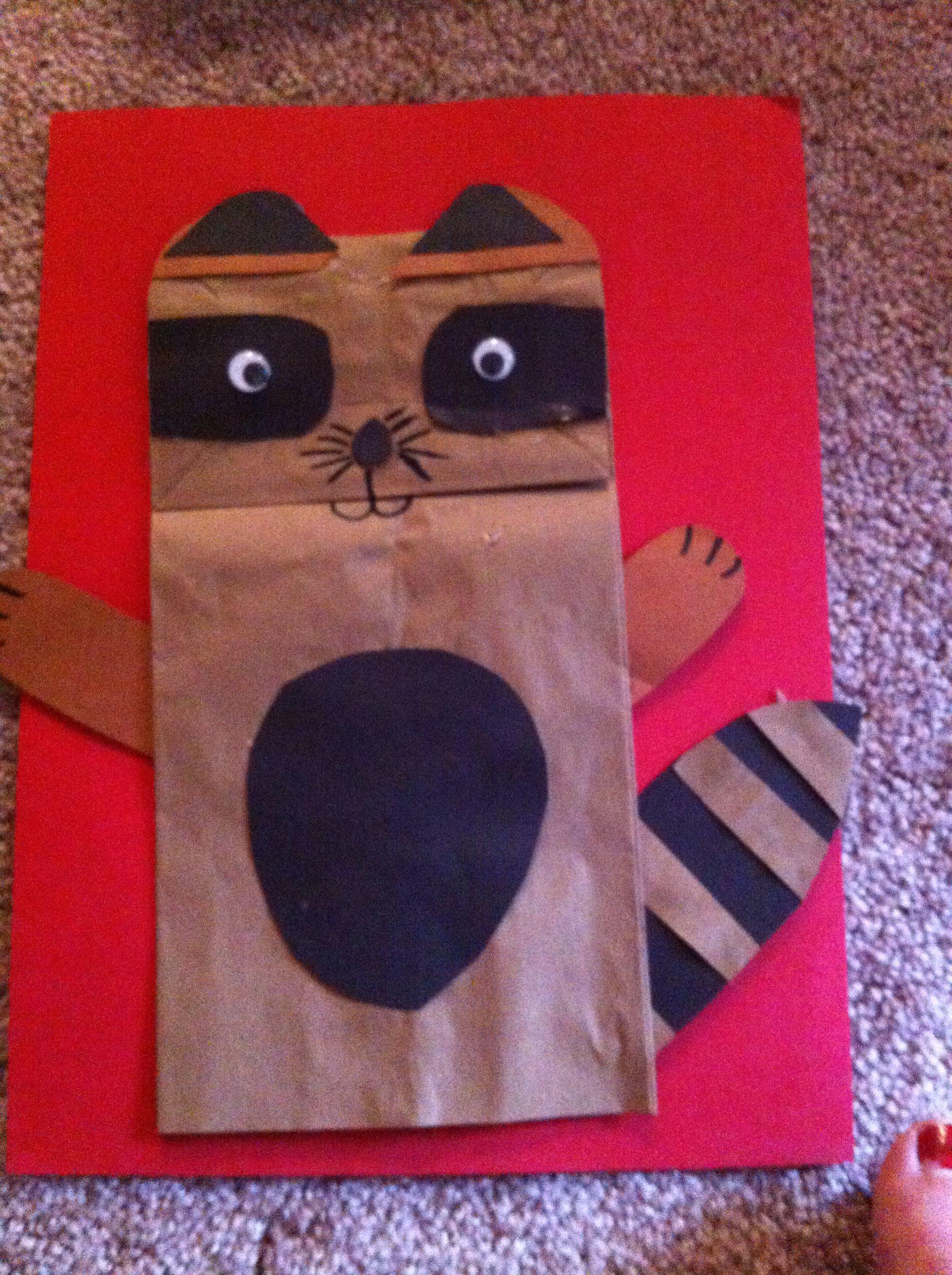 Raccoon Paper Bag Puppet