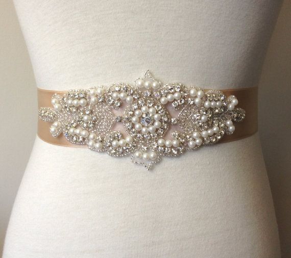 Champagne Sash Belt Rhinestone Bridal Wedding Dress Pearl Satin Ribbon Applique