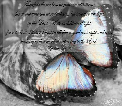 Ephesians 5:7 Therefore do not be partners with them. 5:8 For you were once darkness, but now you are light in the Lord.