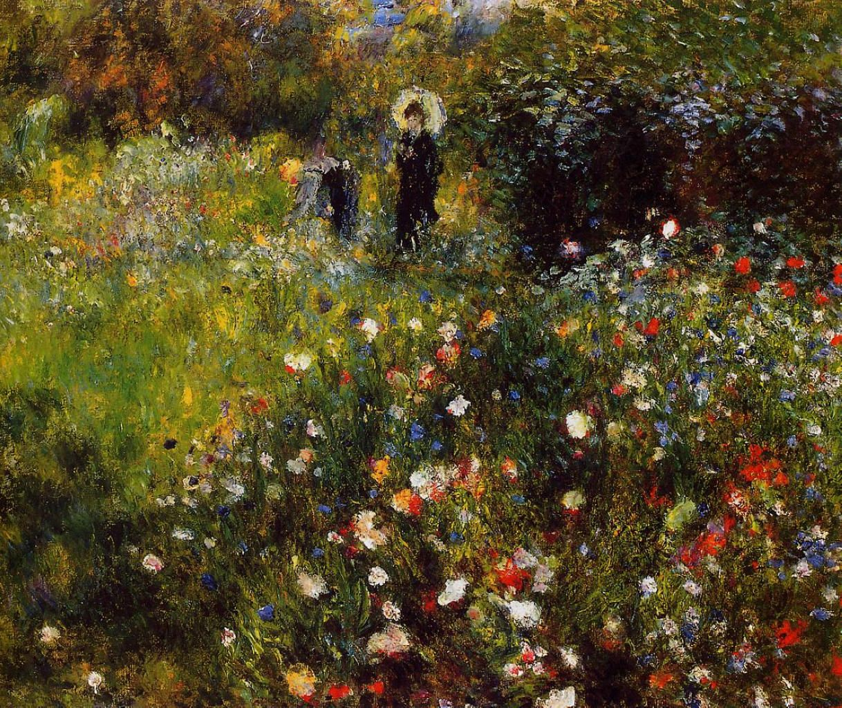 1875 Pierre-Auguste Renoir Woman With Parasole In A Garden Painting Art Poster