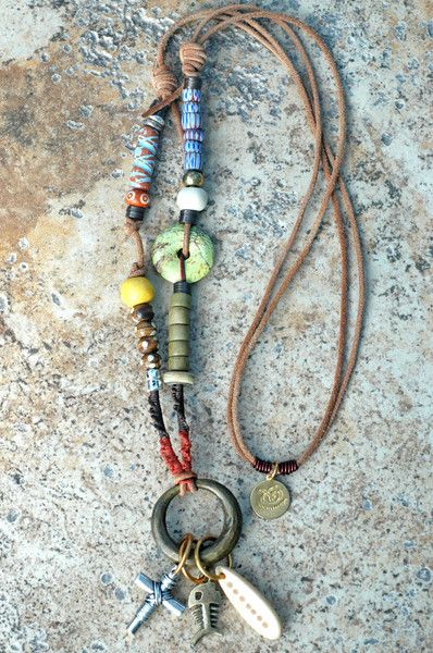 Photo of Rustic Brass Ring and Leather Mixed Media Boho Tribal Charm Necklace