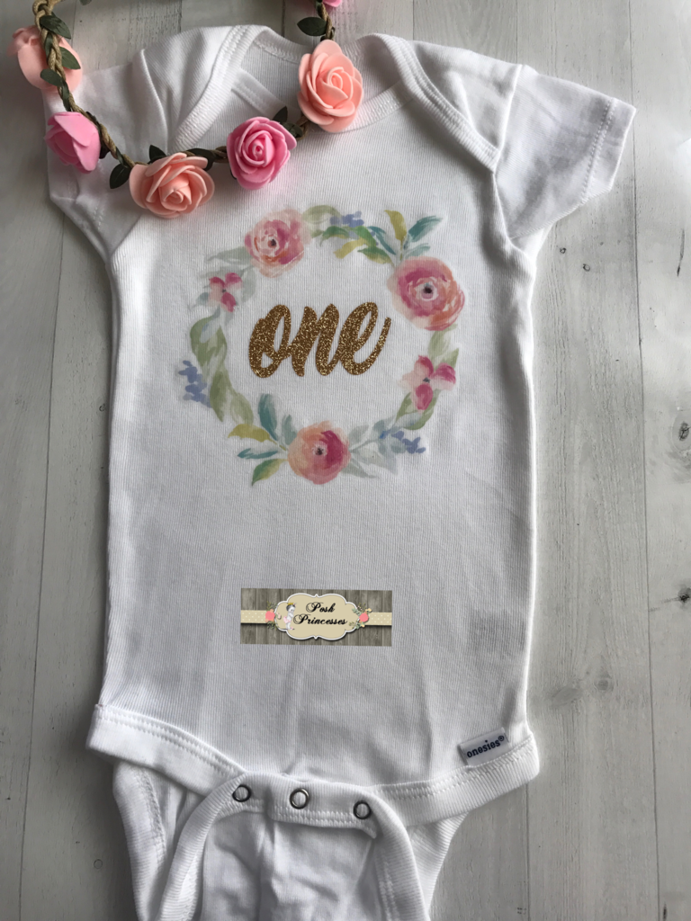 6448f0bf1 1st Birthday Baby Girl Outfit Gold Glitter ONE Flower Wreath, Floral Wreath  Onesie