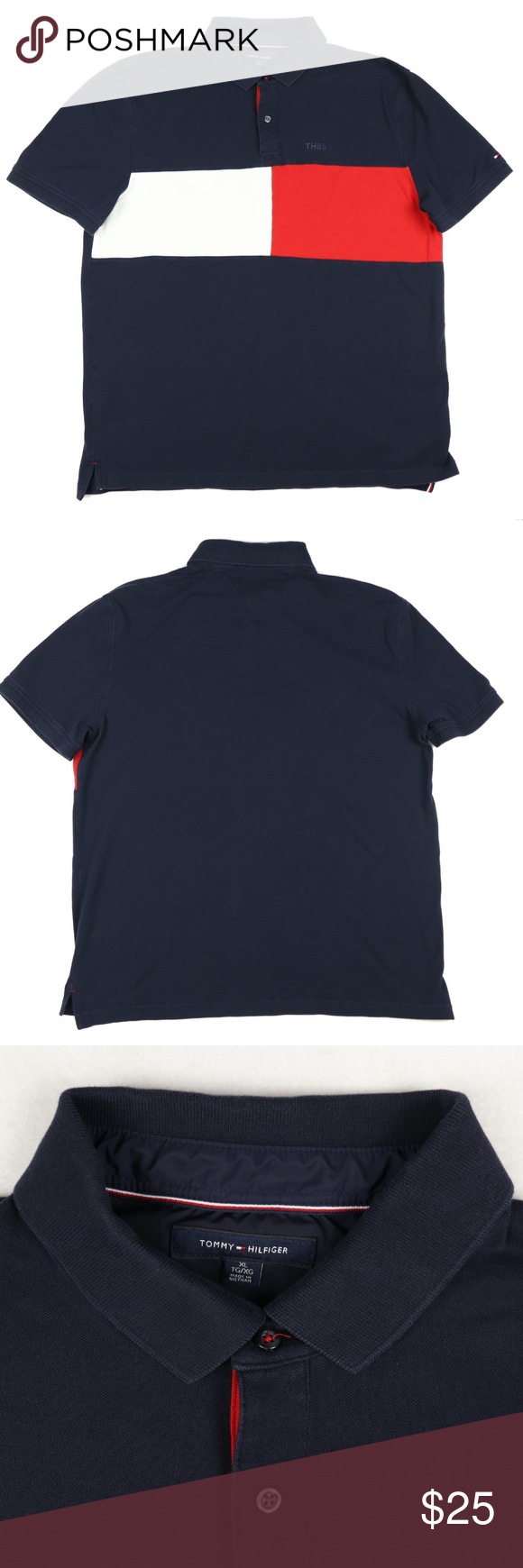 SOLD Tommy Hilfiger Polo Shirt Color Block TH85 | Tommy ...
