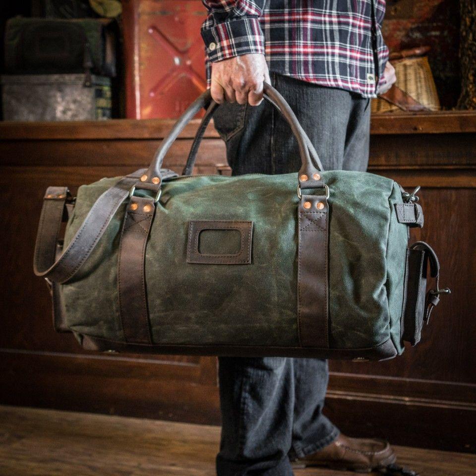 3e32c04c72 Elkton Waxed Canvas Travel Duffle Bag - Green w  Dark Walnut Leather ...