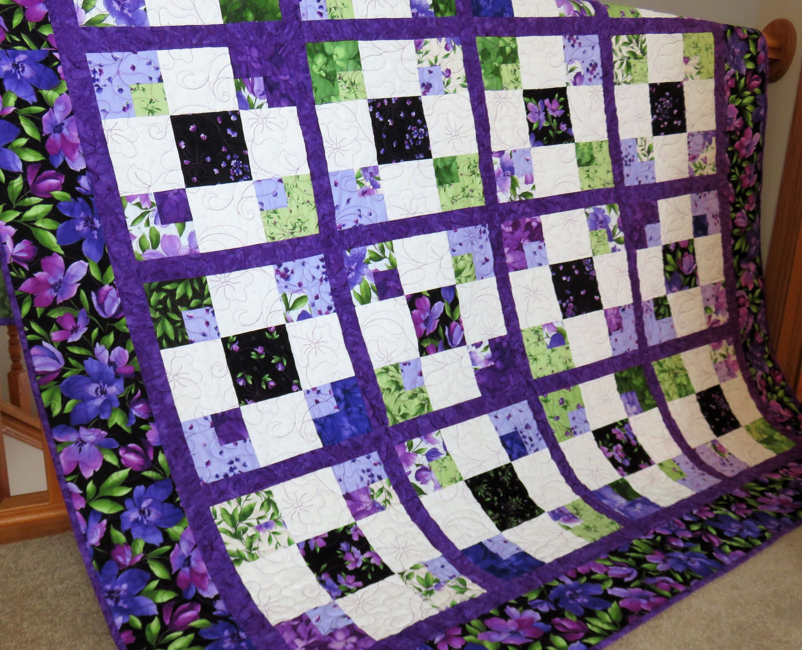 Quilt For Sale Handmade Throw For Sale Purple Blanket Lap Flower Quilts Purple Quilts Bright Quilts