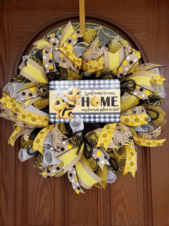 Photo of Bee wreath, Bumble bee wreath, Bee hive wreath, Spring wreath, Summer wreath, Spring wreath for front door, Front door wreath, Everyday door