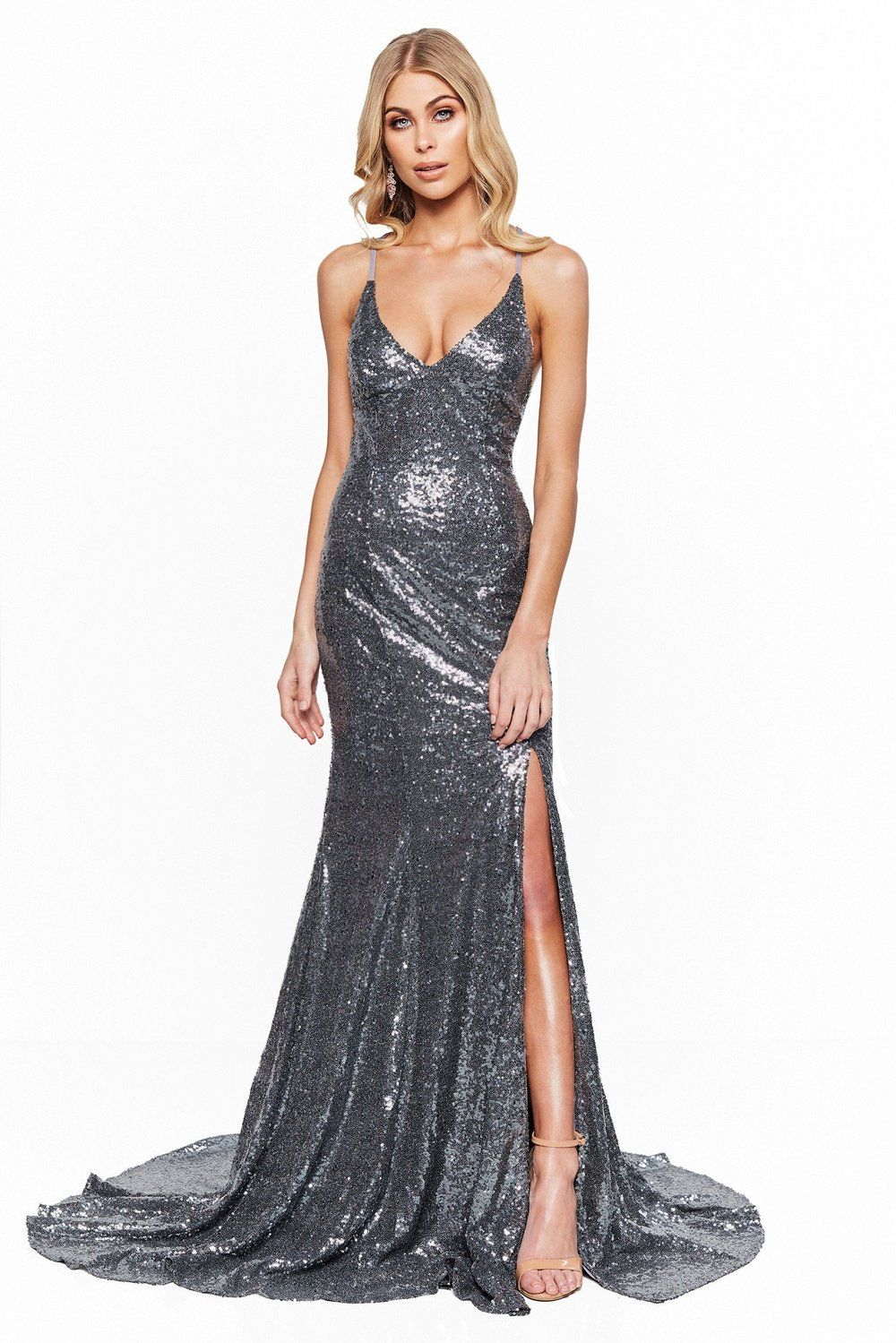 993994b6c23 A N Bridesmaids Kara - Gunmetal Sequin V-Neck Gown with Lace-Up Back