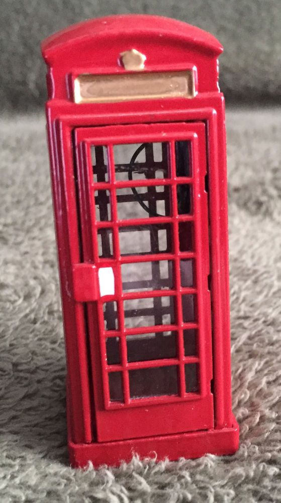 Miniature Red Phone Booth Christmas Accessory Collectible 3 Tall Home Decor